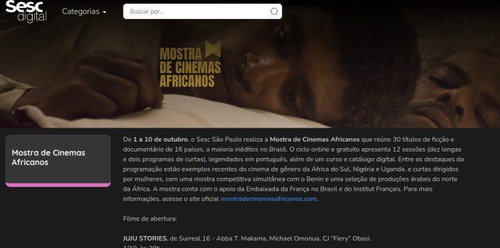 tela do Sesc Digital - Mostra de Cinemas Africanos